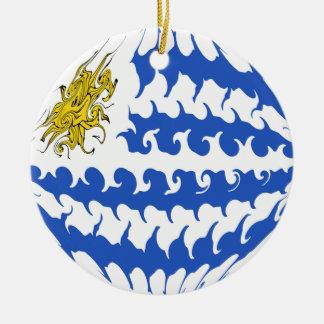 Gnarly Flagge Uruguays Rundes Keramik Ornament