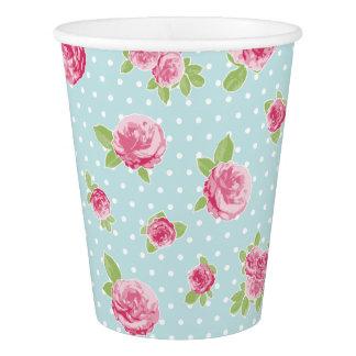 Gobelets En Papier Roses chics minables floraux vintages de tasse de