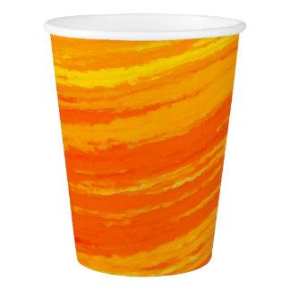 Gobelets En Papier Tasse de papier : Conception orange rayée