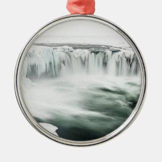 Godafoss Wasserfall, Winter, Island Silbernes Ornament