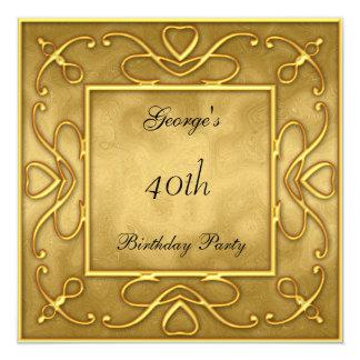 Gold auf GoldBirtday Party Einladung