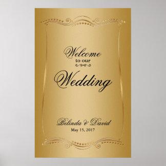 Gold auf Goldverzierter Eleganz-Hochzeits-Sammlung Poster