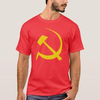 Gold auf rotem sowjetischem Hammer-und Sichel-T - T-Shirt