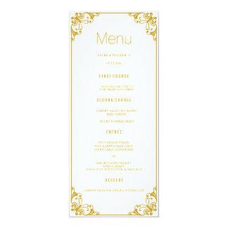 Gold blühen Hochzeits-Abendessen-Menü-Karten 10,2 X 23,5 Cm Einladungskarte