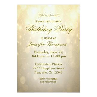 Gold Bokeh der Geburtstags-Einladungs-| 12,7 X 17,8 Cm Einladungskarte