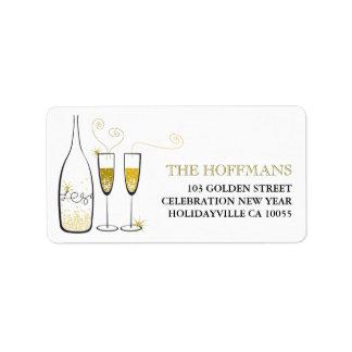Gold Champagne jubelt Feiertags-Adressen-Etiketten Adressaufkleber