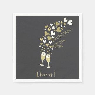 Gold Champagne jubelt Verlobungs-Hochzeits-Party Papierserviette