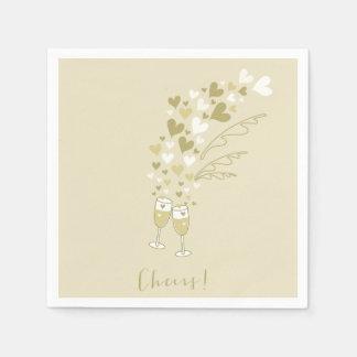 Gold Champagne jubelt Verlobungs-Hochzeits-Party Serviette