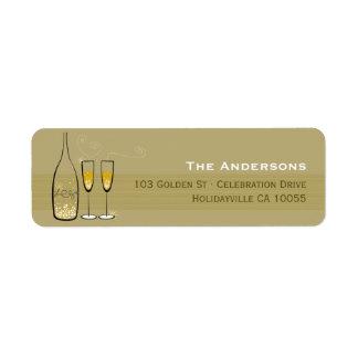 Gold Champagne sprudelt Beifall-Adressen-Etiketten