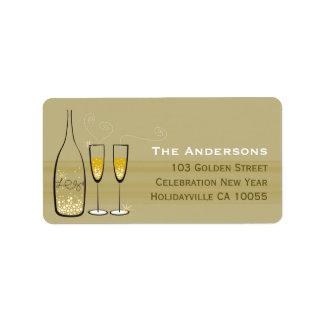 Gold Champagne sprudelt Beifall-Adressen-Etiketten Adressaufkleber