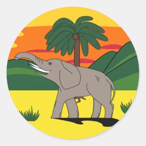 Gold- Coastelefant und Palme-Aufkleber