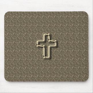 Gold-CROSS-Christian-Faith_Churches_Taupe Mauspads