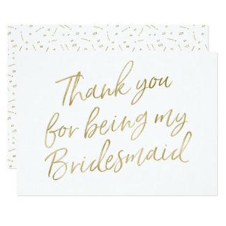 """Gold """"danken Ihnen für Sein meine Brautjungfer """" 12,7 X 17,8 Cm Einladungskarte"""