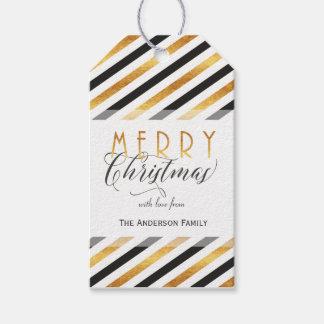 Gold der frohen Weihnachten stripes Geschenkanhänger