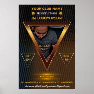 Gold-DJ-Musik und Tanz-Konzert addieren Foto und Poster