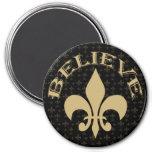 Gold Fleur de Lis Believe noir Magnet Rond 7,50 Cm