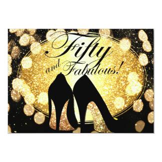 Gold fünfzig und der Geburtstags-Einladung der 12,7 X 17,8 Cm Einladungskarte