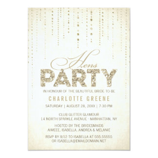 "Gold Glitter Look Hens Party Invitation 5"" X 7"" Invitation Card"