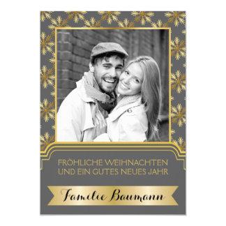 Gold, graues Schneeflocke Frohe Weihnachten Foto 12,7 X 17,8 Cm Einladungskarte