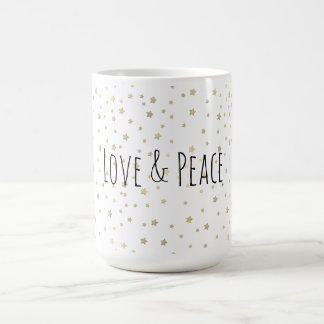Gold hat Liebe und Frieden in der Hauptrolle Kaffeetasse
