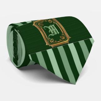 Gold mit grünem Streifen-Schnallen-Monogramm Personalisierte Krawatte