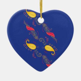 Gold mit Rot verziert den EXOTISCHEN HENNASTRAUCH Keramik Ornament