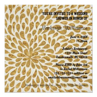Gold modernes Chyrsanthemum - Polterabend laden Quadratische 13,3 Cm Einladungskarte