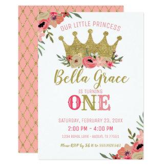 Gold Prinzessin-Crown Birthday Invitation Pink Karte