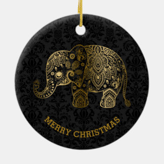 Gold tont Blumenelefanten auf schwarzen Damasten Rundes Keramik Ornament