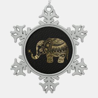 Gold tont Elefant-Illustration Schneeflocken Zinn-Ornament