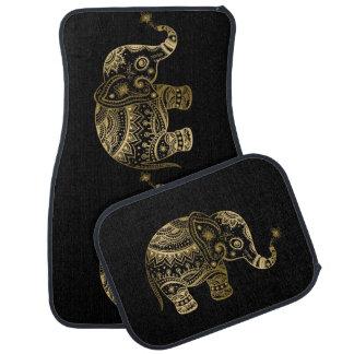 Gold tont niedlichen Stammes- Elefanten Automatte