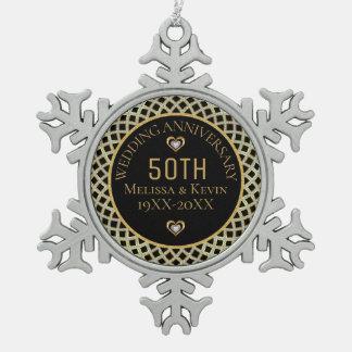 Gold-u. Hochzeitstag-Entwurf der Diamant-50. Schneeflocken Zinn-Ornament