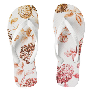 Gold u. Rosa Vintages botanisches BlumenToile No.2 Flip Flops