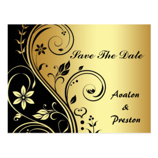 Gold-u. Schwarz-Blumenrolle-Save the Date Postkarte
