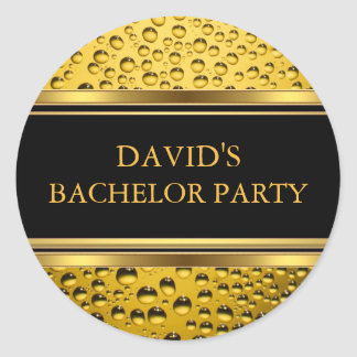 Gold u. schwarzer Bier-Junggeselle-Party-Aufkleber Runder Aufkleber