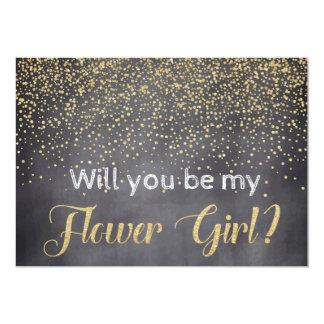 Gold u. Tafel sind Sie mein Blumen-Mädchen? 12,7 X 17,8 Cm Einladungskarte