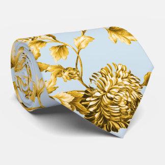 Gold u. taubenblaues modernes botanisches krawatte