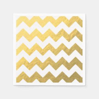Gold u. weiße Zickzack Papierservietten
