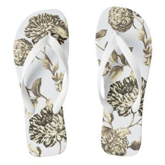 Gold u. weißes Vintages botanisches BlumenToile Flip Flops
