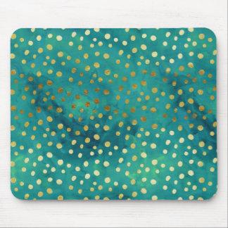 Gold-und aquamarine Punktemoderner bezaubernder Mousepad