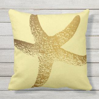 Gold-und gelbe Starfish-Wurfs-Kissen im Freien Kissen