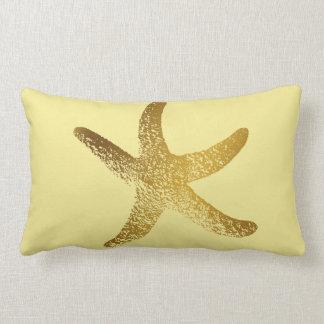 Gold und gelbes Starfish-Wurfs-Kissen Lendenkissen