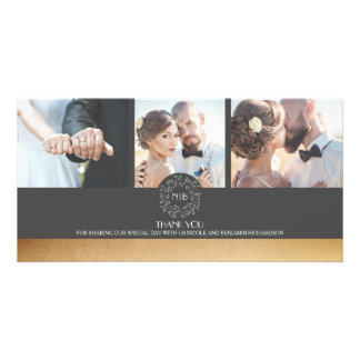 Gold und graue BlumenFoto-Hochzeit danken Ihnen Karte