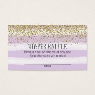 Gold und lila Baby-Duschen-Windelraffle-Karten Visitenkarte