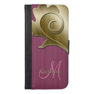 Gold-und malvenfarbene Rosen-metallisches iPhone 6/6s Plus Geldbeutel Hülle