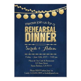 Gold-und Marine-Proben-Abendessen-Einladung 12,7 X 17,8 Cm Einladungskarte
