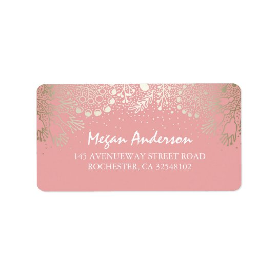 Gold und rosa Garten-Märchenland-Hochzeit Adressetiketten