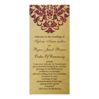 Gold und rosa Hochzeitsprogramm Vollfarbige Werbekarte