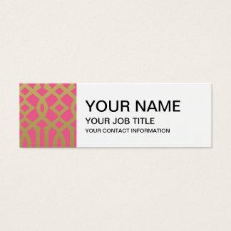 Gold-und Rosa-modernes Gitter-Muster Mini Visitenkarte