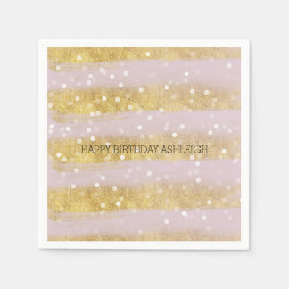 Gold und Rosa-Streifen Bokeh Confetti Papierservietten